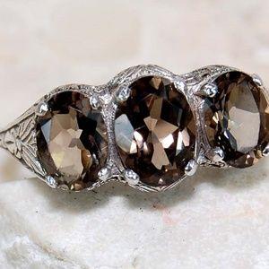 5CT Smoky Topaz 925  Silver Ring Size 6
